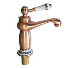 Смеситель для раковины , под МЕДЬ , ручка с камнем , шаровый, код: 155
