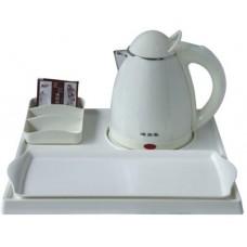 Чайный набор с менажницей и подносом, 0,8 л., пластик, белый, 345*315*22 мм