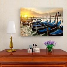 Картина на холсте 'Лодки у причала', 90x60 см.