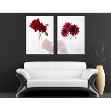 Модульная картина 'Flores rojas', В56 x Ш79 см.