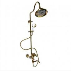 Смеситель + стойка душевая тропический душ с двумя лейками ЗОЛОТО, код: 3080